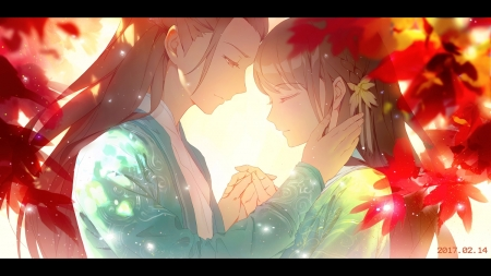 Gentle Love - fantasy, orginal, romance, couple, japan, long hair, art, valentine, oriental, asian, japanese, gentle, love
