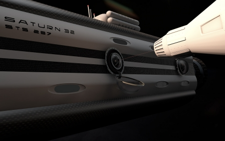 Docking spaceship - space, cinema 4d, 3d, saturn