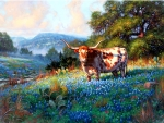 Cow and Flowers