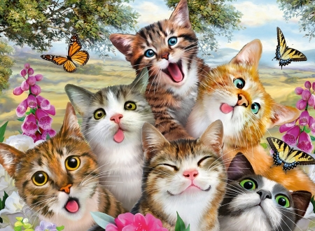 Funny Kitten - painting, butterflies, artwork, cats