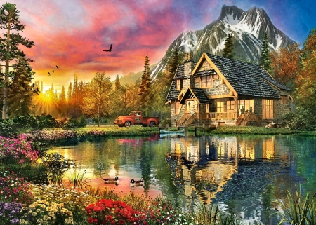 A Breath of Fresh Air - Cottage F2 - artwork, painting, art, cottage, wide screen, architecture, lake, scenery, beautiful, water, landscape, cabin
