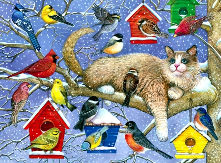 Party Crasher - Cat F - sparrow, goldfinch, pets, beautiful, art, animal, wide screen, house finch, artwork, Blue Jay, feline, robin, cats, painting, songbirds, cardinal, chickadee, bluebird
