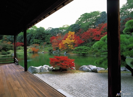 Japanese Garden - japanese, japan, zen, lake, garden, house, nature
