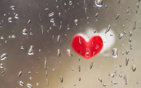 Heart - glass, heart, red, rain, valentine, water drops