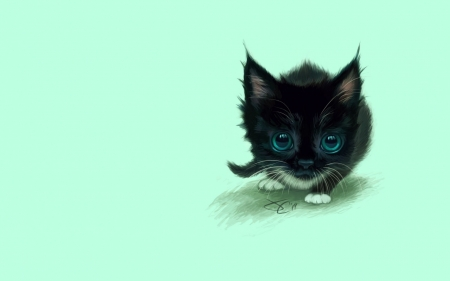 Kitten - black, kitten, cat, pisica, blue, art, animal, green, luminos, eyes