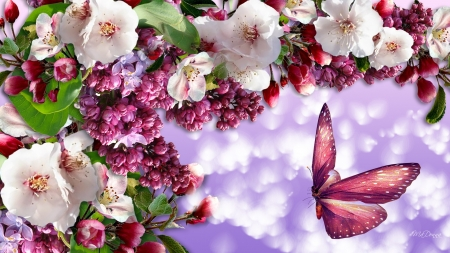 Spring Venture - butterfly, spring, apple blossoms, lilacs, bokeh, cherry blossoms, Firefox Persona theme, sakura