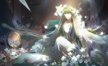 Fate Grand Order - lovely, pretty, beauty, sweet, anime, flowers, beautiful, girl, peacock, cute, long hair, anime girl, green hair