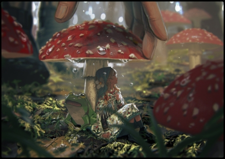 Mushrooms - mushroom, pine yellowpine112, girl, green, manga, red, anime