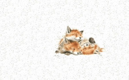 Fox cubs - white, cute, red, art, trio, fox, cub, orange, baby, animalcute