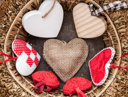 Happy Valentine's Day! - white, valentine, wood, basket, red, heart, card