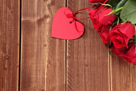 Happy Valentine's Day! - rose, valentine, flower, wood, texture, red, card, heart