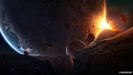 Sudden Encounter - space, asteroids, 3d, planets, galaxies