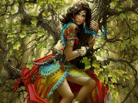 Gypsy girl - beautiful, trees, colorful, pretty, tree, women, escape, girl, gypsy, woman, dangerous