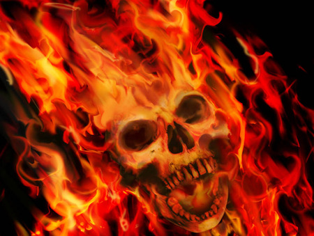 FLAMING SKULL - wallpaper, skull, flaming