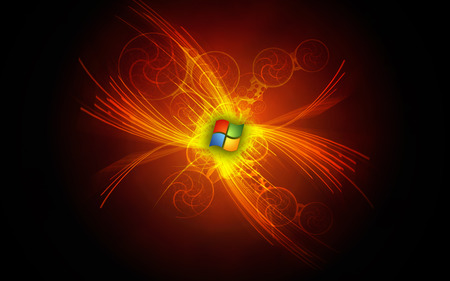 Wallpaper 130 - Windows 7 - logo, 7, microsoft, windows, ball, vista, dark, black, seven, orange, windows 7