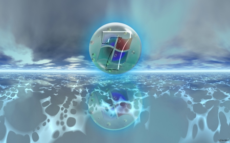 Wallpaper 135 - Windows 7 - blue, microsoft, seven, water, ball, cyan, windows, cool, 7, ice, vista, windows 7, computers, windows logo