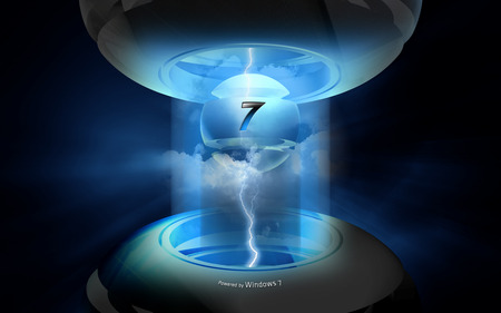 Wallpaper 152 - Windows 7 - bolt, microsoft, abstract, dark, windows, power, chrome, windows 7, steel, blue, seven, electricity, cool, lighting, 7, powerful, black