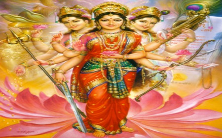 Tri Devi ( Hindu Divine Mother ) Powerful Dharma Goddess's - beautiful, goddess, abstract, supreme, india, god, lord, indian, tri devi, lakshmi, hindu, laxshmi, parvati, photography, mother, divine, hindi, devi, saraswati, hinduism, tridevi
