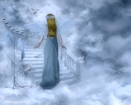 Angel Blessings - stairs, wings, blessings, angel