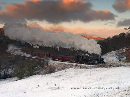 train in winter - trains, nature