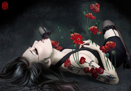 Poppies & Passion - flowers, people, model, art, goth, sexy, girl, butterfly, female, flower, gothic, woman, blood, butterflys, red, kiss, poppies, flutters, sorrow, design, tattoo, sad, colorel