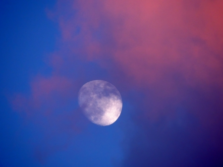 Cloudy Moon - Photography, Sky, Clouds, Moon, Space