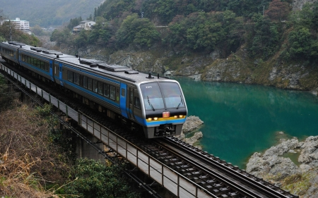 new train - lake, cool, technology, train, fun