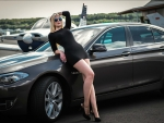 Model and BMW All in Black