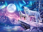 White Wolves Under The Full Moon