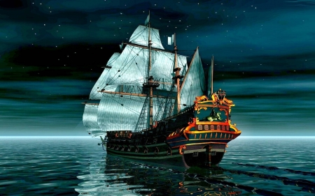 sailing ship - cool, sailboat, ocean, boats, fun