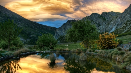 Sunset in New Zealand - Nature, Sunset, Pond, Mountain