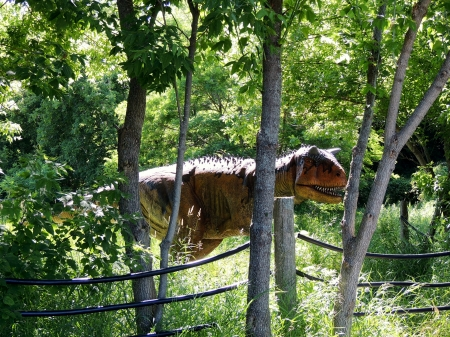 Field With A Dinosaur - Photography, Field, Trees, Reptile Zoo, Dinosaur, Animal, Sunshine, Grass