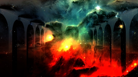 Pillars of Creation - Stars, Space, Abstract, Galaxies, Pillars