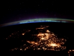 United Kingdom at night under an aurora