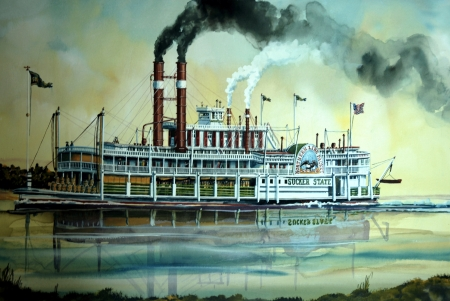 Steam Boat - river, paddle Steamer, water, vintage