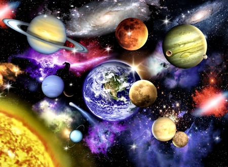 Solar System F - beautiful, artwork, solar system, painting, planets, art, illustration, wide screen, space