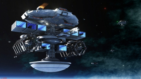 Space Station - 3D, space, ships, stations