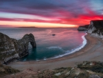 Red Sunset Over Durdle Door