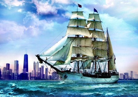 Sailing Toward Chicago - painting, scenery, waves, art, artwork, sailing ship, wide screen, beautiful, Lake Michigan