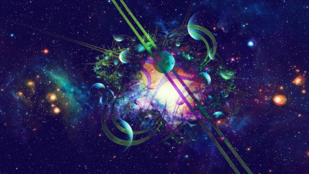 Tangled Universe - Galaxy, Space, Abstract, Universe, Planets