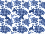 Blue Floral Bird Pattern