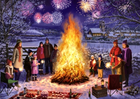 Bonfire Night F - snow, artwork, painting, art, illustration, wide screen, beautiful, landscape, fireworks, winter