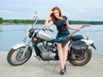 Redhead Model on a Motorcycle