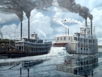 Paddle Steamers crossing