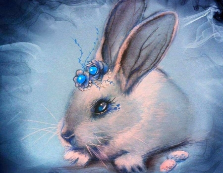 Bluebell - rabbit, love four seasons, animals, spring, blue, easter, paintings, eggs, bunny, draw and paint