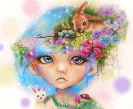 Easter Elf Eliza - flowers, love four seasons, spring, animals, egges, easter, weird things people wear, girl, elf, paintings, bunny, draw and paint