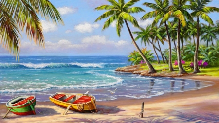 Tropical Bay - nature, ocean, boats, breeze, tropical, palm, trees, waves, shore, beach, bay