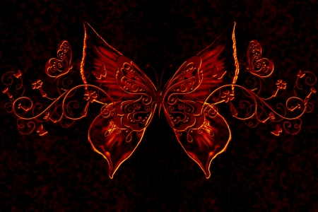 Flutter By - Abstract, Fire, Dark, Butterfly, Photoshop