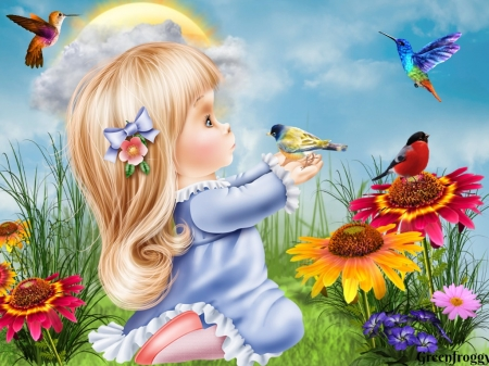 BIRDS IN THE GARDEN - GIRL, IMSGE, CUTE, BIRDS