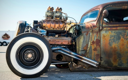 Rat Rod - motor, tires, cars, rat rod, headers
